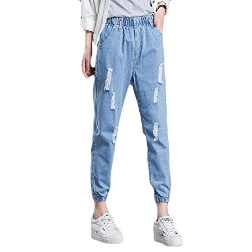 Againg Womens Elastic Waist Plus Size Frayed Denim Simple Harem Pants