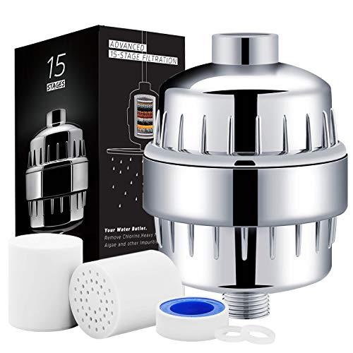 HAUEA 15-stufig Duschfilter universal Wasser Filter mit Zwei auswechselbare Filter Kartusche, Silikondichtungen und Teflonband, Reinigen Chlor, Entfernen Sedimenten, Verunreinigungen und Metalle