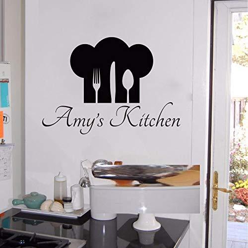 Personalisierte Name & Chef Hut Utensilien Küche Wandaufkleber Kissen Koch Esszimmer benutzerdefinierte Name Aufkleber Vinyl Home Decor 56x40 cm