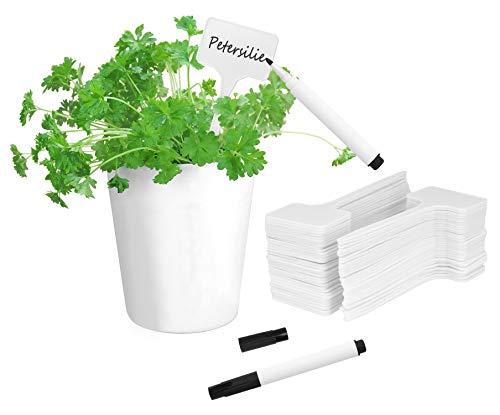 COM-FOUR® 64x Pflanzenschilder mit wasserfesten schwarzen Markern - Pflanzenstecker zum Beschriften - Stecketiketten - 14,5 cm (0064 Stück - weiß mit Marker)