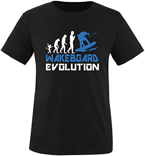 EZYshirt® Wakeboard Evolution Herren Rundhals T-Shirt Schwarz/Weiss/Blau