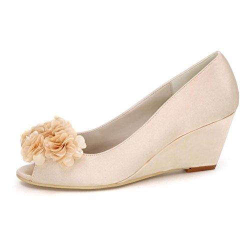 Ei&iLI Women 's scarpe da sposa di seta aperte davanti fiori Accenti cuneo scarpe partito dei vestiti da damigelle EU36-EU43 Purple