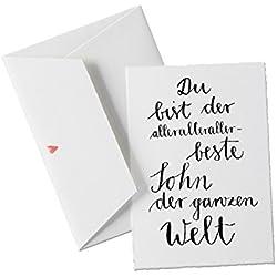 Du bist der allerallerallerbeste SOHN der Welt, Spruch, Glückwunschkarte Postkarte für Söhne, Geburtstagskarte oder allgemeine Grußkarte als Dankeschön an den Sohn, klassisch mit Herz - Umschlag