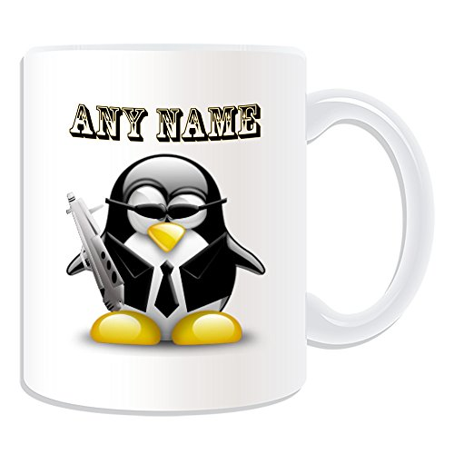 chenk-Spy Agent Tasse (Pinguin in Kostüm Design Thema, weiß)-alle Nachricht/Name auf Ihre einzigartige-Cool Gun 007 ()