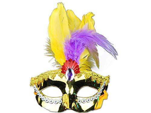 DOOUYTERT Künstliche Blumen Künstliche Feder Maske Half Face Masquerade Maske für venezianische Weihnachtsfantasie (gelb) Hochzeitssträuße