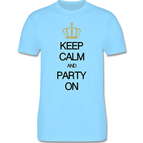 Keep calm - Keep calm and party on - Herren Premium T-Shirt Hellblau