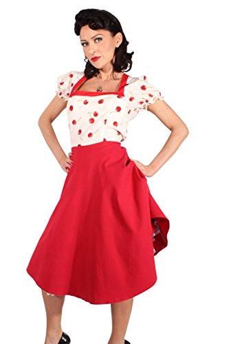 SugarShock Damen 2tone Kirschen rockabilly SWING Cherry Petticoat Kleid Petticoatkleid Rot