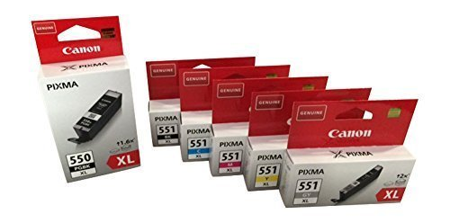 Preisvergleich Produktbild 6 Original XL Druckerpatronen XL black dick + XL bk/c/y/m + XL grau für Canon Pixma MG 6350 MG6350 Tintenpatronen