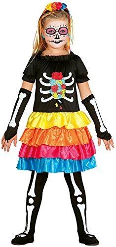 Mädchen Rainbow Skelett Zuckerschädel Mexikanisch Tag der Toten Halloween Horror unheimlich Kostüm Kleid Outfit 5-12 Jahre - 10-12 years