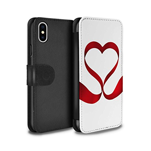 Stuff4 Coque/Etui/Housse Cuir PU Case/Cover pour Apple iPhone X/10 / Coeur D'Amour Rouge Design / Coeur Valentine Collection Aimer Ruban