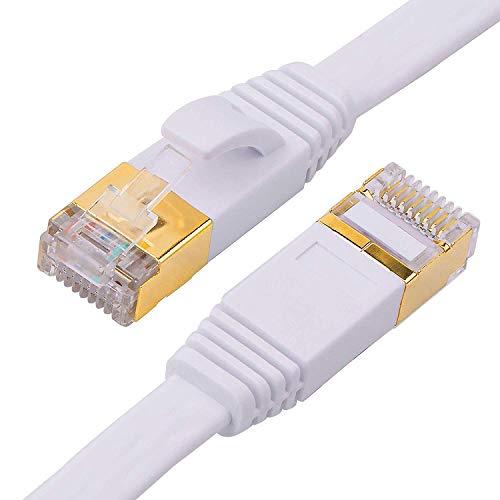 REFURBISHHOUSE Cat-7 Ethernet Kabel, 100 Ft Weiss Flach Mit Kabel Clips, Geschirmte Rj45 Verbinder, Schnelle Geschwindigkeit 10 Gigabit LAN Netzwerk Patch Kabel, Schneller Als Cat6 Cat5E -
