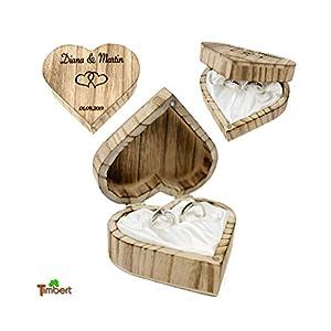 RINGBOX aus HOLZ Herz Vintage Ringkissen mit GRAVUR Rustikale Hochzeit Ringschachtel für Eheringe Ringkästchen Ringschatulle Personalisiert