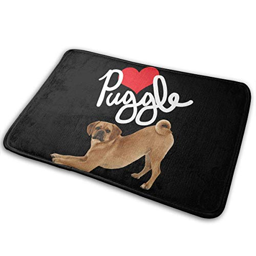 QuGujun Bamboo Towels Puggle Dog Love Welcome Brothers Bath Mat Non Slip Absorbent Super Cozy Velvet Bathroom Rug Carpet Bath Rugs -