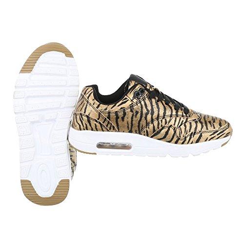 Low-Top Sneaker Damenschuhe Low-Top Sneakers Schnürsenkel Ital-Design Freizeitschuhe Gold Schwarz KT946CEB