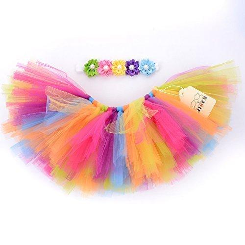 Baby Girl 3 Kostüme Monate (jisen Baby Newborn Fotografie Prop Baby Girl Infant Lovely Kostüm Tutu Kleid mit Blume Kopfband 0–3Monate (Rainbow)