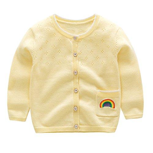 Kanodan Baby Mädchen Strickjacke Kleinkinder Cardigan Herbst Pullover (Gelb, 12-18 Monate)