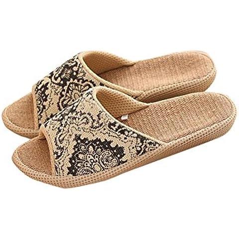 Unisex Slip-On Zapatillas Puntera Abierta Sandalia Zapatos de lino Mules absorbe la humedad y antideslizante para