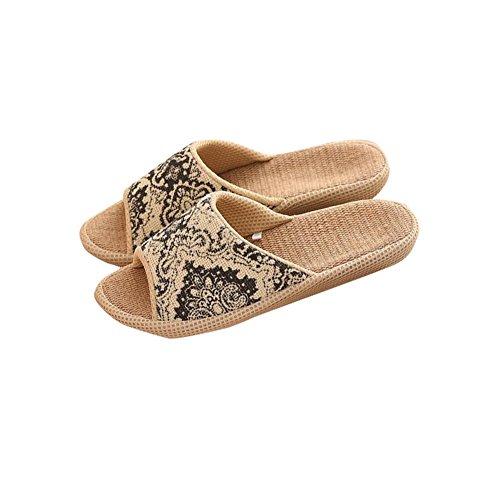 Slip Ons Unisex Borsa, umidità Lino Organico Lino aperto interni ed esterni antiscivolo pantofole suola in gomma Pantofole Stile Etnico Vintage pantofle, Black, uk 9.5-10.5