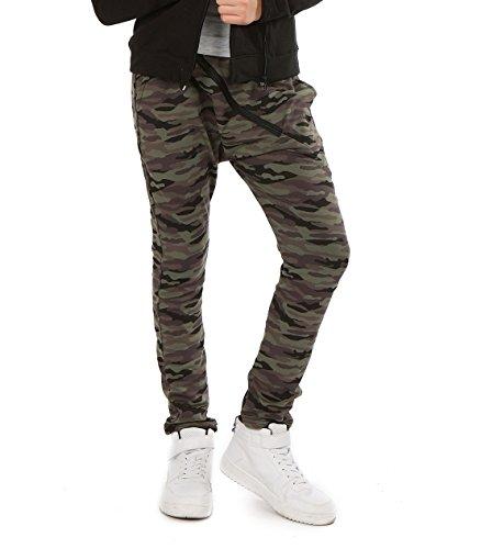 AlexFashion Camuflage Baggy Military Hose mit Zip für Mädchen Hosen zu Schule Sport Skate Kinder Chino Harlem Streetwear 116-158 (146, Camuflage) Military Chino Hose