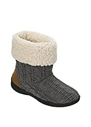 Dearfoams Cuffed Knit Boot Slipper with Heel Patch Grey Large UK/India 7-8