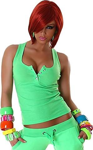 Jela London Haut Shirt Débardeur, Boutons en strass - femme - Vert, 34/36