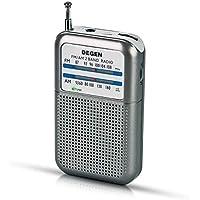 Prunus DEGEN-DE333 Mini Radio Portable de Poche FM/AM, Excellente Réception, Bouton de Réglage avec Indicateur de Signal. Compatible avec Piles Amovibles (AAA)