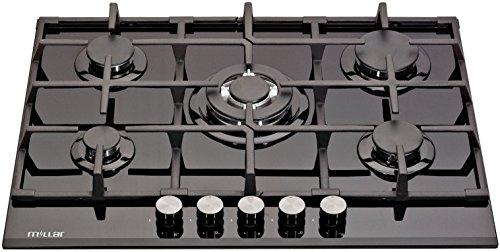 Millar GH7051TB Plaques de cuisson en Verre trempé avec 5 brûleurs à gaz Noir 70 cm / Table de Cuisson