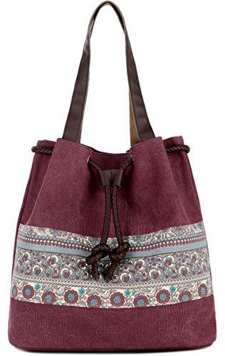 DCCN Canvas Tasche Damen Shopper Bag Handtasche Boho Bag 31x30x13cm Weinrot - Tasche Bohemian-tasche