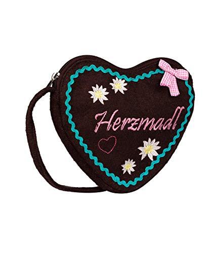 SIX Bestickte Oktoberfest-Handtasche in Herzform aus Filz, ideal als Trachtentasche, mit Zierschleife, Umhängetasche (427-437)