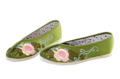 Women Slip On Casual Flat Espadrilles Shoes - Handmade Sole Comfy Silk Brocade #103 Vert