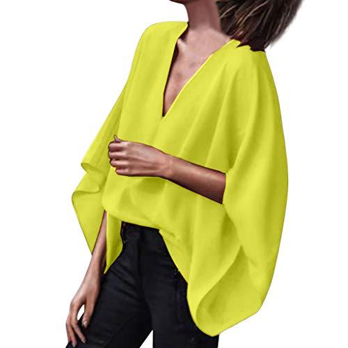 Huacat Damen V-Ausschnitt einfarbige Fledermaus Ärmel lose lässig Kurzarm Chiffon komfortable Sommer Batwing Ärmel Bluse T-Shirt Sommer-editor