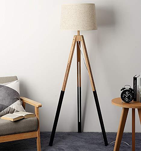 RU Retro LED Stativ Stehlampe Holz Retro Lesung Vertikale Steh Lampe für Wohnzimmer Bett Studie Lesen und Büro mit E27 Birne -