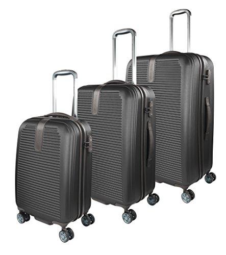 Traveller Rome Hartschalen Kofferset, 4 Rollen 3er Reisekoffer Set für Damen und Herren mit TSA Schloss – (S, M, L), Schwarz