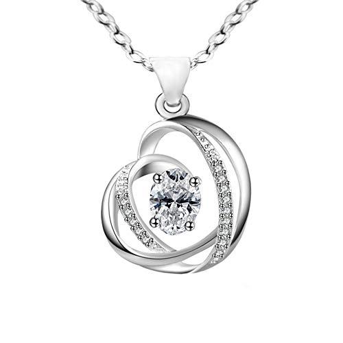 C.m.nuine - collana con ciondolo a forma di cuore, argento 925, gioielli con 5a zirconi