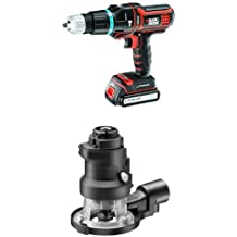 Black + Decker MT188KB-QW Multievo Perceuse à percussion avec 2 batteries 27 W 18 V + Black + Decker MTRT8 Défonceuse multifonction Multievo