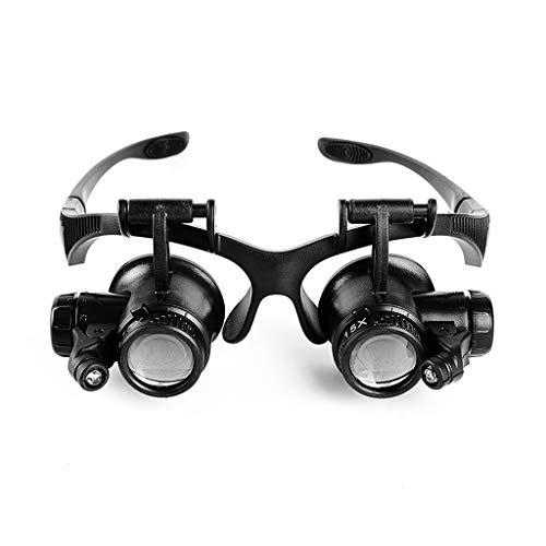 -Freisprecheinrichtung, Halterung/Stirnband-Lupen-Spiegel-Schmuck-Uhr-Reparatur-Lupe und 4 Wechselobjektiv 10X 15X 20X 25X ()