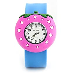Top Quality New Cute Luminous Kids Boys Girls Silicone 3D Cartoon Animal Bendable Slap Watch Clap on Hand Gift Birthday Xmas - Pink Strawberry