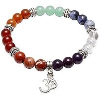 JOVIVI Damen Herren Stein Armband Reiki-Energietherapie Yoga-Armband Sanskrit OM Anhänger 7 Chakra Balance Armband preisvergleich bei billige-tabletten.eu