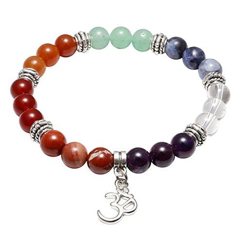 JOVIVI Damen Herren Stein Armband Reiki-Energietherapie Yoga-Armband Sanskrit OM Anhänger 7 Chakra Balance Armband