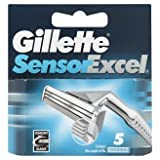 -mit Gillette Sensor Excel Rasierklingen, 5Stück, aunglo.