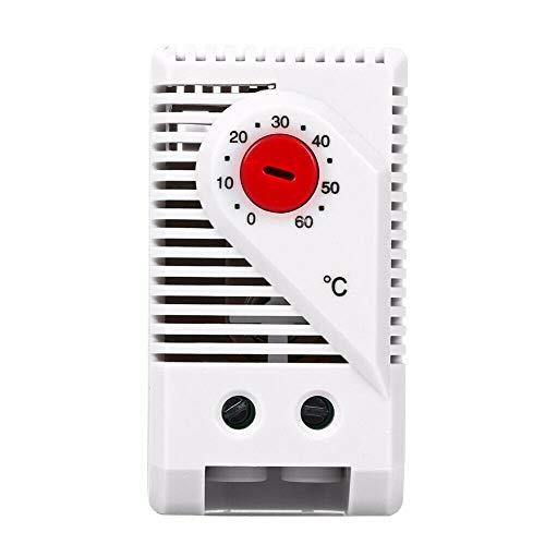 0-60°C Kompaktes Thermostat, SENRISE Einstellbarer mechanischer elektrischer Temperaturregler Schalter (rote Taste) -