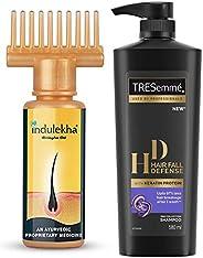 Indulekha Bhringa Hair Oil, 100ml & TRESemme Hair Fall Defense Shampoo, 580ml