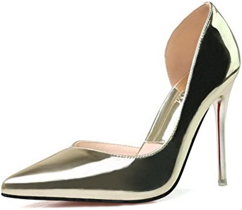AalarDom Damen Weiches Material Schließen Zehe Rein Stiletto Spitz Zehe Pumps Schuhe