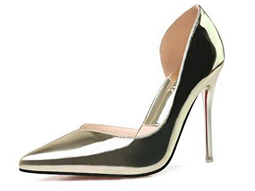 Schließen Aalardom Material Weiches Schuhe Rein Golden Stiletto Spitz Pumps Zehe Damen qggtT