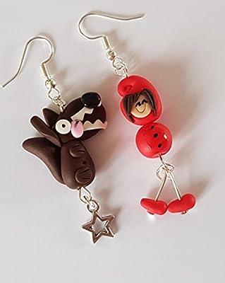 boucles d'oreille le petit chaperon rouge et loup personnages livre conte fée