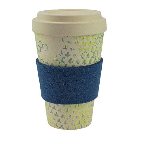 Tasse en bambou coffee-to-go ebos | avec bouchon à vis, bague de serrage en feutre de laine véritable | tasse à café, tasse à boire | biodégradable, respectueuse de l'environnement | qualité alimentaire, adaptée au lave-vaisselle (bleu (Dynamic New II))