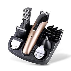 JAYLONG 6 In 1 Multifunktionale Wiederaufladbare Elektrische Haarschneider Grooming Kit Nase Ohr Bart Clipper Und Mustache Trimmers Rasierer Anzug Haarschneider Für Männer,Gold