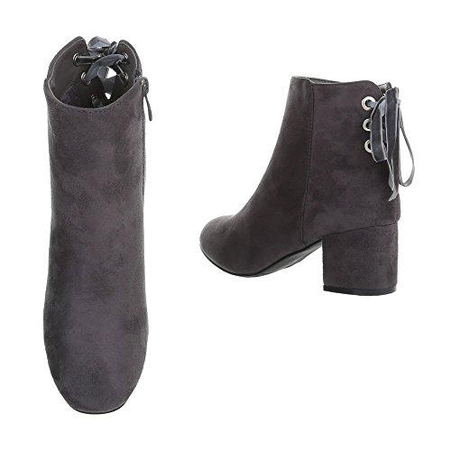 Klassische Stiefeletten Damenschuhe Klassische Stiefeletten Blockabsatz Bequeme Reißverschluss Ital-Design Stiefeletten Grau
