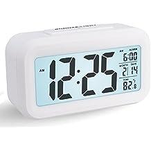Reloj Despertador Digital, Arespark Reloj Despertador Inteligente Simple y Silencioso con Pantalla de Fecha y Temperatura, Reloj Matutino para Oficina Doméstica Reloj Pesado para Niños (Función Despertador, Pantalla de Temperatura, Luz de Fondo Inteligente) - Blanco