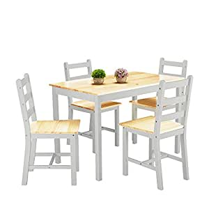 weibo modern stylish solid wood pine dining table and 4 chairs solid wood dinette set in silk. Black Bedroom Furniture Sets. Home Design Ideas
